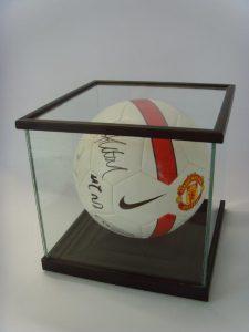 Framed signed football